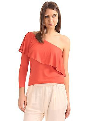 SUGR One Shoulder Ribbed Top