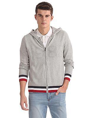 Nautica Zipper Placket Hooded Sweater