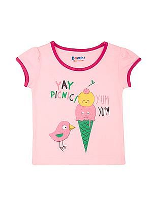 Donuts Girls Glitter Print Cotton T-Shirt