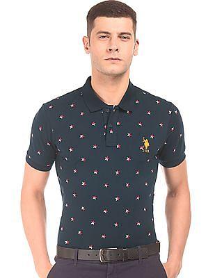 U.S. Polo Assn. Slim Fit Star Print Polo Shirt