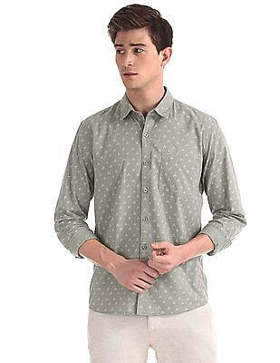Ruggers Grey Printed Cotton Shirt