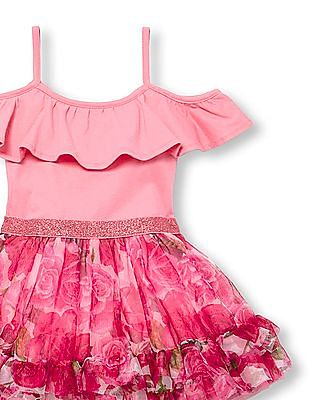 The Children's Place Toddler Girl Short Cold Shoulder Sleeve Knit-To-Woven Rose Tutu Dress