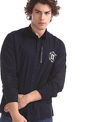 Colt Blue Round Cuff Solid Shirt