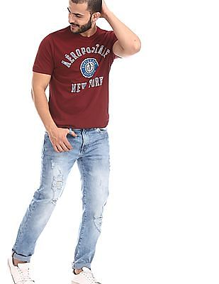 Aeropostale Blue Slim Straight Fit Distressed Jeans