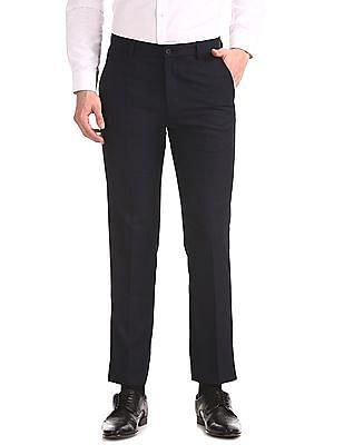 Excalibur Blue Slim Fit Tonal Check Trousers