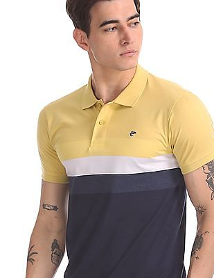 Ruggers Navy And Yellow Regular Fit Striped Polo Shirt