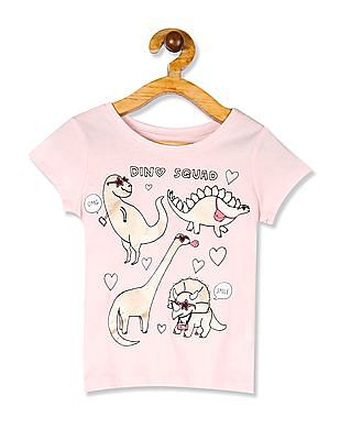 The Children's Place Pink Toddler Girl Round Neck Printed T-Shirt