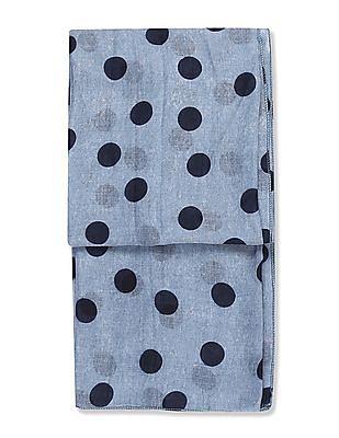 SUGR Blue Polka Dot Print Stole