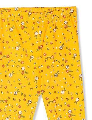 Cherokee Yellow Girls Elasticized Waist Floral Print Leggings