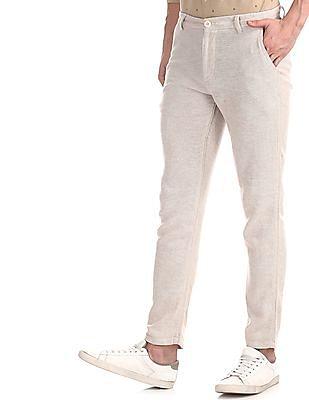 Cherokee Beige Patterned Linen Cotton Trousers