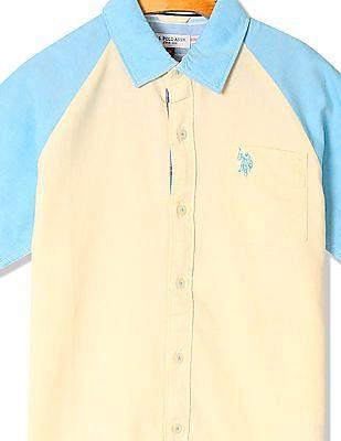 U.S. Polo Assn. Kids Boys Raglan Sleeve Colour Block Shirt