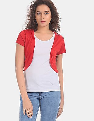 SUGR Women Red Lace Back Viscose Shrug