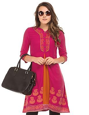 Bronz Embroidered Panelled Tunic
