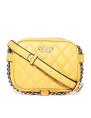 GUESS Linked chain Strap Quilted Sling Bag
