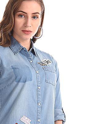 Flying Machine Women Blue Patch Work Denim Shirt