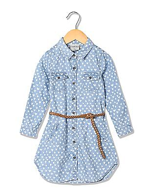 Cherokee Girls Belted Shirt Dress