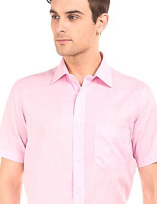 Arrow Short Sleeve Puppytooth Pattern Shirt