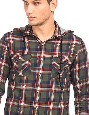 Flying Machine Detachable Hood Check Shirt