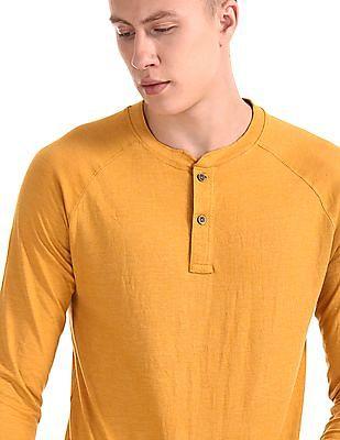Cherokee Yellow Long Sleeve Solid Henley T-Shirt