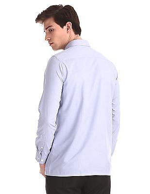 Excalibur Blue Semi Cutaway Collar Solid Shirt
