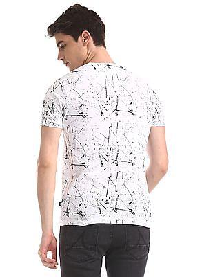 Flying Machine White Crew Neck Printed T-Shirt