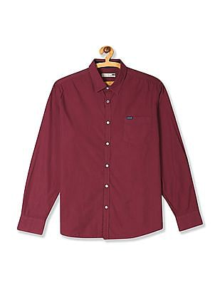 Flying Machine Red Patterned Weave Cotton Shirt