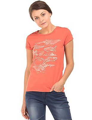 Cherokee Whale Print Round Neck T-Shirt