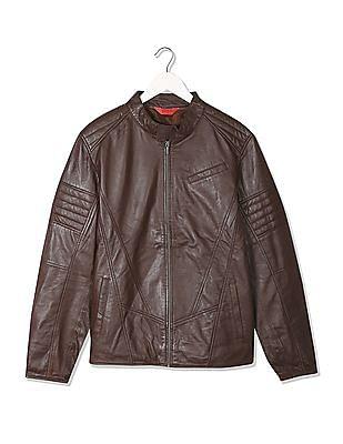 Izod Zip Up Leather Biker Jacket