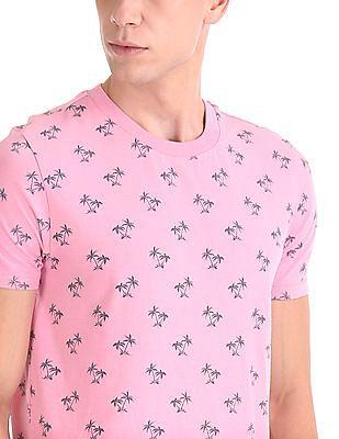 Aeropostale Palm Tree Print Crew Neck T-Shirt
