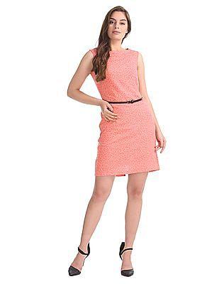 Elle Studio Floral Print Belted A-Line Dress