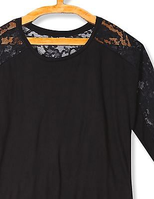 U.S. Polo Assn. Women Lace Panel Solid Top