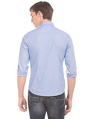 Flying Machine Button Down Collar Jacquard Shirt