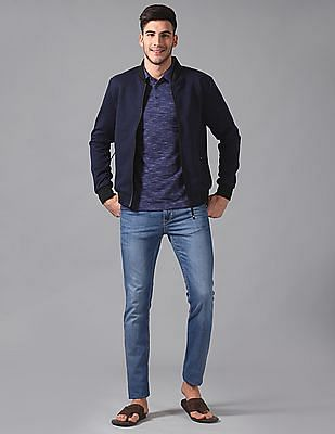 True Blue Slim Fit Patterned Bomber Jacket