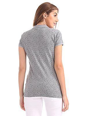 U.S. Polo Assn. Women Regular Fit Printed Polo Shirt