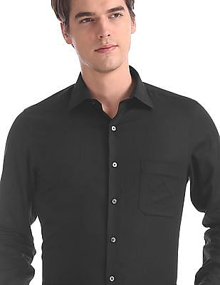 Arrow Black French Placket Patterned Shirt