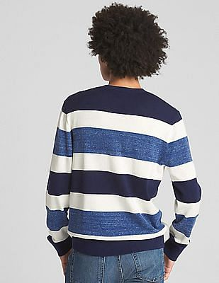 GAP Men Blue Rugby Stripe Crewneck Pullover Sweater