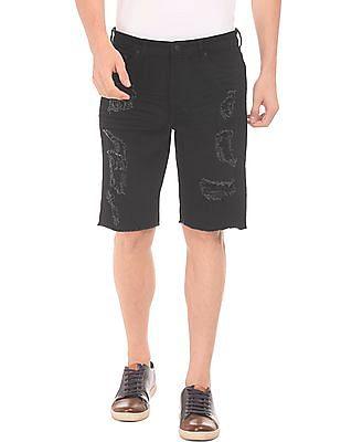 Aeropostale Regular Fit Distressed Denim Shorts