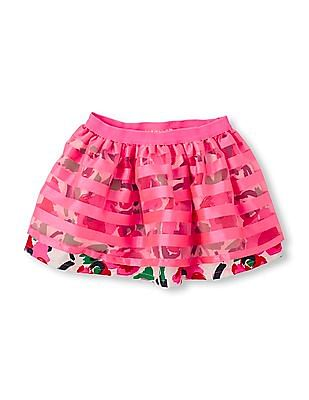 The Children's Place Baby Pink Striped Overlay Skirt