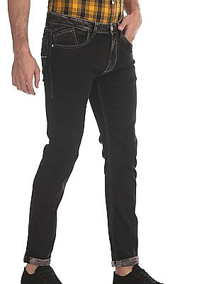 Flying Machine Black Michael Slim Tapered Fit Rinsed Jeans