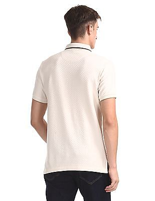 Arrow Sports Beige Mercerized Cotton Patterned Polo Shirt