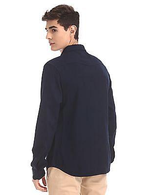 Cherokee Blue Round Cuff Textured Shirt