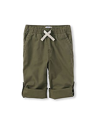 The Children's Place Toddler Boy Green Roll-Up Pants
