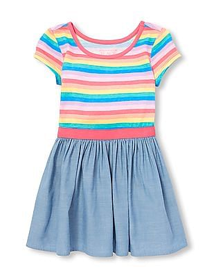 The Children's Place Baby And Toddler Girl Short Sleeve Rainbow Stripe Knit-To-Woven Dress