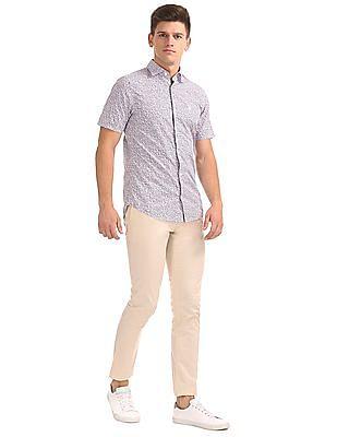 Gant Hazy Flower Print Slim Short Sleeve Town Shirt