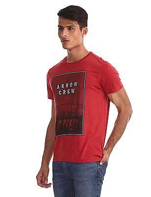 Arrow Sports Red Graphic Print Crew Neck T-Shirt