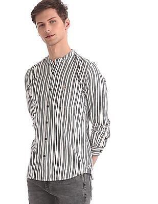 U.S. Polo Assn. Denim Co. White Slim Fit Striped Shirt