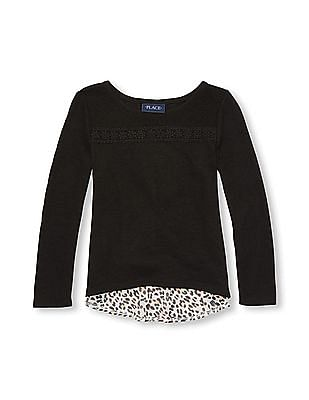 The Children's Place Girls Long Sleeve Printed Hi-Low Hem Sweater-Knit Top