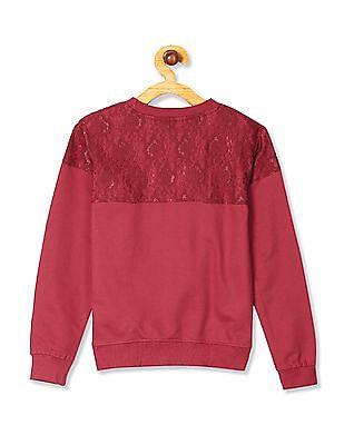 Cherokee Red Girls Long Sleeve Lace Sweatshirt