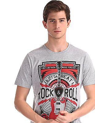 Colt Grey Crew Neck Printed T-Shirt
