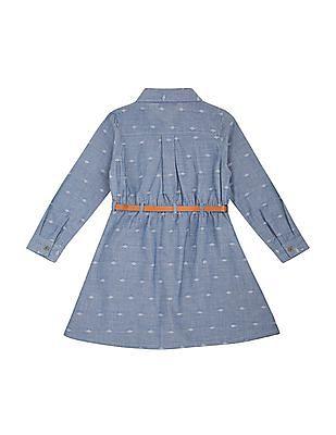 Cherokee Girls Jacquard Belted Shirt Dress